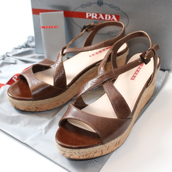 d737623e43 Prada Shoes | New Calzature Donna Brown Leather Wedges Nwt | Poshmark